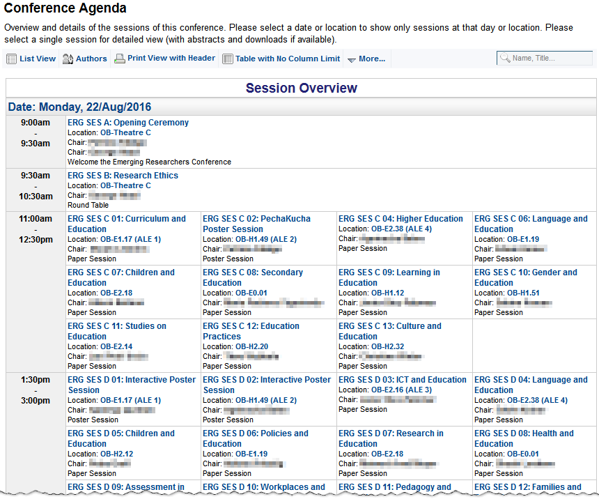 Image 2: Sample schedule of conference in list view - Click on image ...