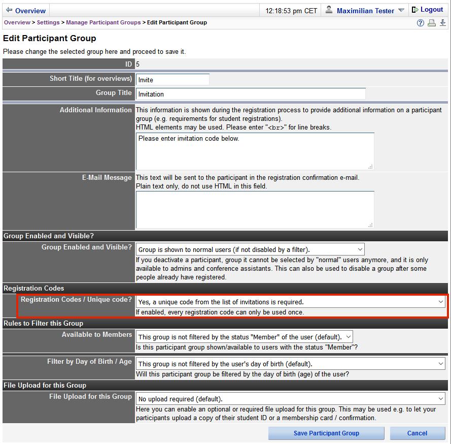 Conftool sending invitations image 3 set unique codes for status groups click to enlarge stopboris Images